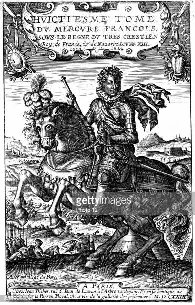 Louis XIII of France Reigned from 1610 Son of Henri IV and Marie de' Medici father of Louis XIV Copperplate equestrian portrait published 1623