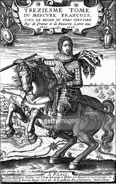 Louis XIII of France Reigned from 1610 Son of Henri IV and Marie de Medici father of Louis XIV Copperplate equestrian portrait published 1629