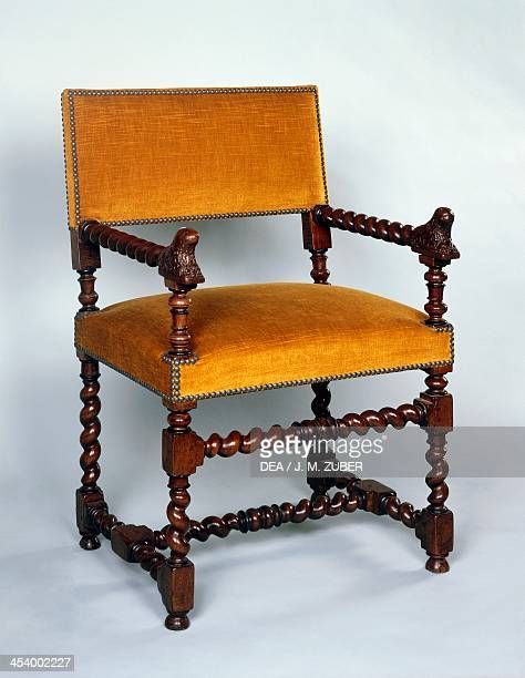 Louis XIII style armchair with twist turned frame signed Dumas 1602 France 17th century