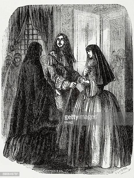 Louis XIV King of France Louis XIV and his mistress Louise de La Valliere Engraving