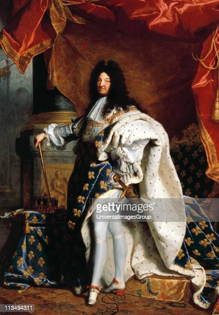 Louis XIV painted in 1701 by Hyacinthe Rigaud French baroque painter Louis XIV known as the Sun King was King of France and of Navarre from 1643 to...
