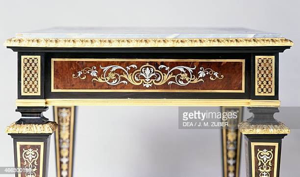 Louis XIV Second Empire style ebony table with tortoiseshell brass and tin Boulle style marquetry copy signed by Henri Dasson 1882 France second half...