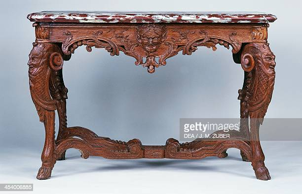 Louis XIV style oak and red Languedoc marble console table France 17th century