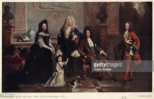 Louis XIV with his son the Grand Dauphin etc from a painting by Nicolas de Largilliere in the Wallace Collection London circa 1700 Louis XIV is...