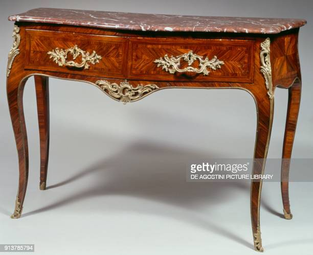 Louis XV commode veneered with kingwood inlaid marble top two drawers carved bronze and gilded ornaments arched legs stamped by L Boudin 94x134x58cm...