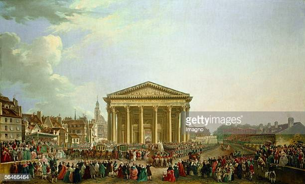Louis XV laying the foundation stone of the church of SteGenevieveParisSeptember 61764 Painting by PierreAntoine Demachy Musee Carnavalet Paris...