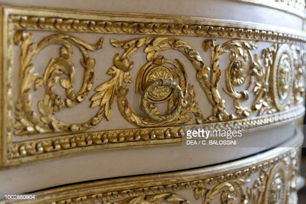 Louis XV style carved chest of drawers with gilded decorations detail anteroom King's apartment Hunting residence by Filippo Juvarra Stupinigi...
