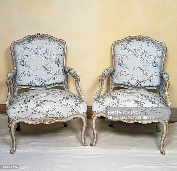 Louis XV style lacquered and gilt armchairs stamped Ch Fr Normand France 18th century