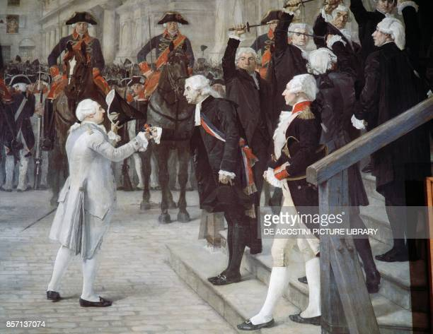 Louis XVI being received by the Mayor of Paris Jean Sylvain Bailly at the city in 1789 painting by JeanPaul Laurens preserved in the Hotel de Ville...