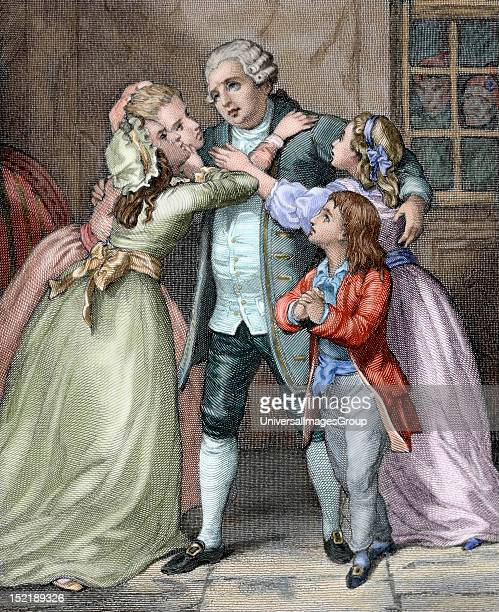Louis XVI King of France Louis XVI says goodbye to his family to be executed during the Age of Terror Colored engraving 'Universal History' 1869
