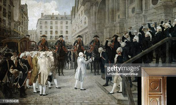Louis XVI received by Jean Bailly, Mayor of Paris, 17 July 1789', 3 days after fall of the Bastille Oil on canvas. Jean-Paul Laurens 1838-1921,...