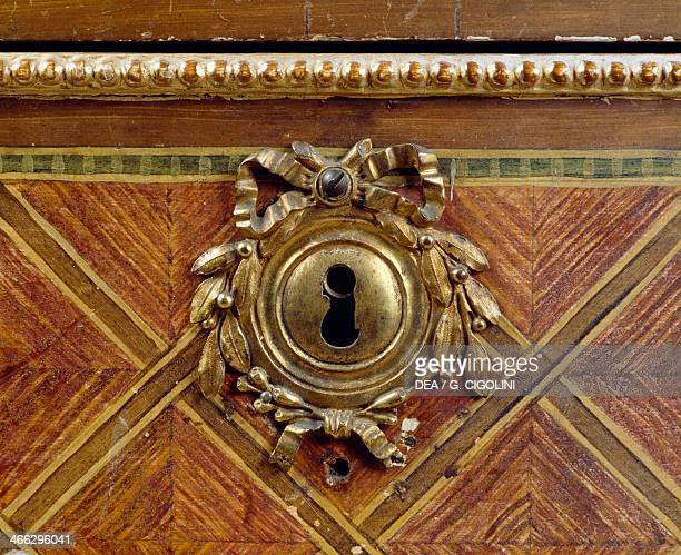 Louis XVI style Piedmont crescentshaped commode with geometric inlay 19th century copy Masino Castle Caravino Piedmont Italy Detail of the keyhole