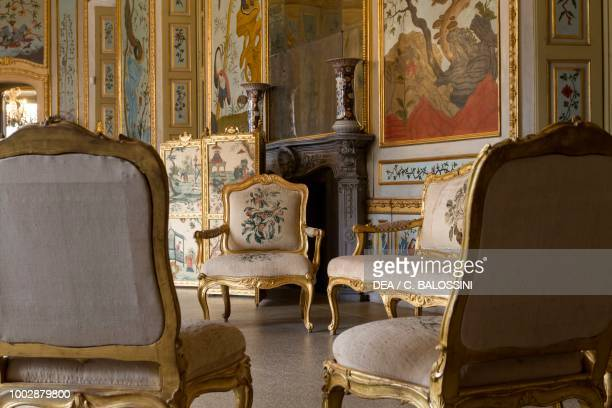 Louis XVI style sofa and chairs game room Hunting residence by Filippo Juvarra Stupinigi Piedmont Italy 18th century