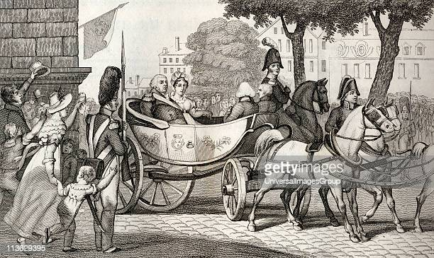 Louis XVIII 1755 to 1824 enters Paris at the Restoration of 1814 from Histoire de France by Colart published circa 1840