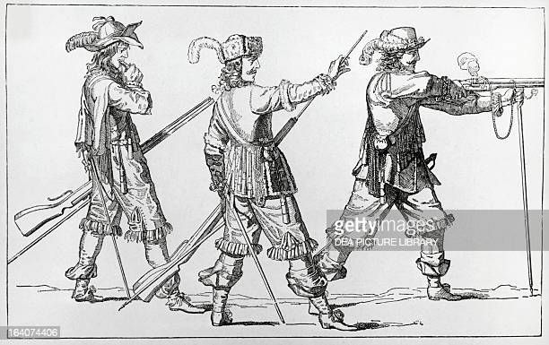 Louis XVI's musketeers demonstratin how to prepare and fire a rifle engraving France 18th century
