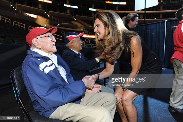 Louis Zamperini and Maria Shriver attend the Special Olympics LA 2015 World Games press conference at Staples Center on September 14, 2011 in Los...