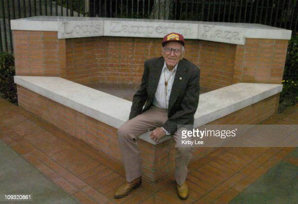Louis Zamperini during dedication ceremony of plaza in his name at USC track stadium. The 87-year-old Zamperini was the top American finisher in the...