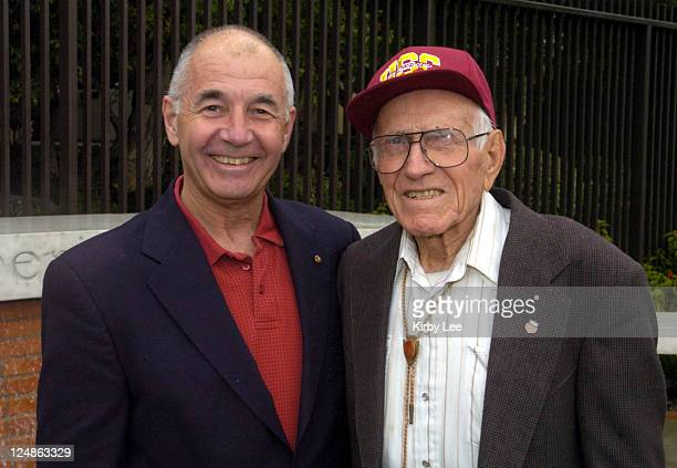 Louis Zamperini poses with USC track and field booster Dr Robert Elliott during dedication ceremony of Louis Zamperini Plaza on Saturday Feb 21 2004