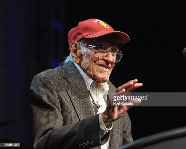 Louis Zamperini presents an award at the 2011 Golden Goggles at JW Marriott Los Angeles at L.A. LIVE on November 20, 2011 in Los Angeles, California.