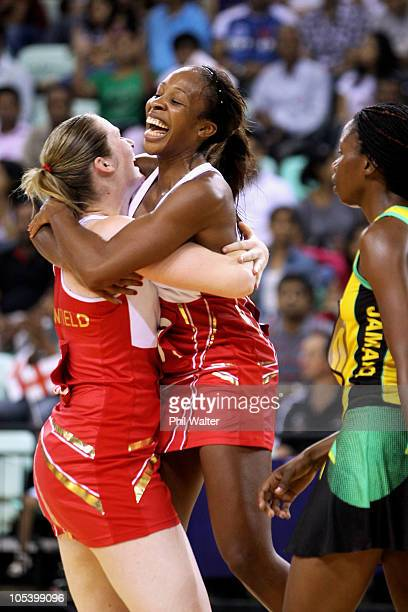 Louisa Brownfield and Pamela Cookey of England celebrate winning the Women Finals Bronze medal match between England and Jamaica at the Thyagaraj...