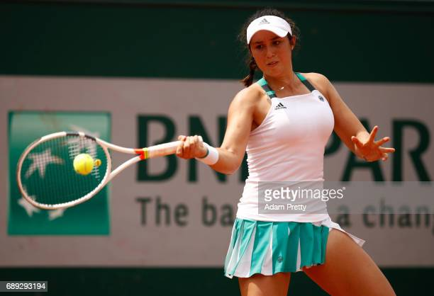 Louisa Chirico of The United States plays a forehand during the ladies singles first round match against Jelena Ostapenko of Latvia on day one of the...