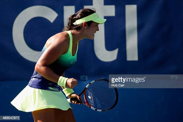 Louisa Chirico of the United States reacts after winning a point against Alize Cornet of France during her singles match at Rock Creek Tennis Center...