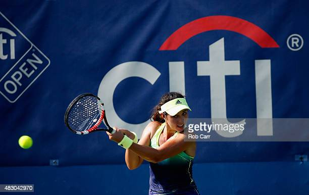Louisa Chirico of the United States returns a shot to Alize Cornet of France during her singles match at Rock Creek Tennis Center on August 5, 2015...