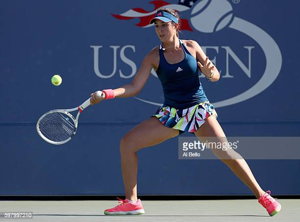 Louisa Chirico of the United States returns a shot to Anastasia Pavlyuchenkova of Russia during her first round Women's Singles match on Day Two of...