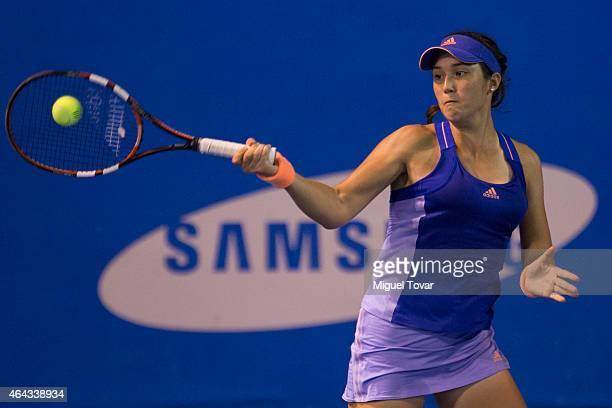 Louisa Chirico of US returns a ball during a female single match against Mariana Duque-Mari–o of Colombia as part of Telcel Mexican Open 2015 day 2,...