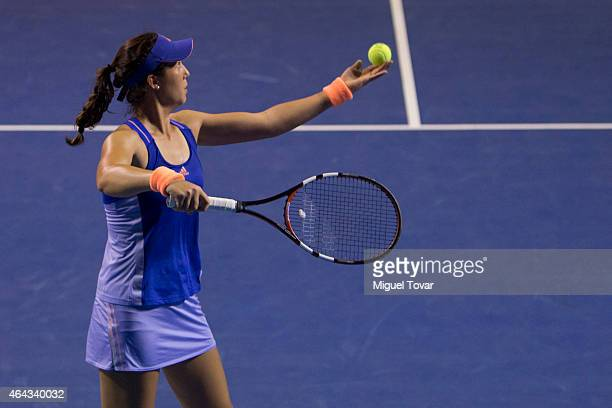Louisa Chirico of US serves during a female single match against Mariana Duque-Mari–o of Colombia as part of Telcel Mexican Open 2015 day 2, at...