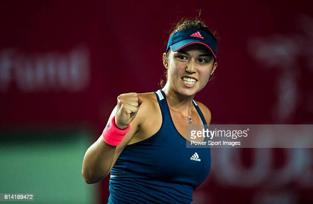 Louisa Chirico of USA celebrates a point against Angelique Kerber of Germany during their Singles Round 2 match at the WTA Prudential Hong Kong...
