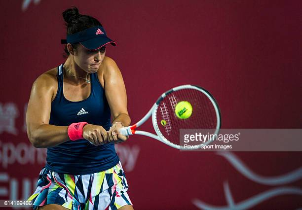 Louisa Chirico of USA in action against Angelique Kerber of Germany during their Singles Round 2 match at the WTA Prudential Hong Kong Tennis Open...