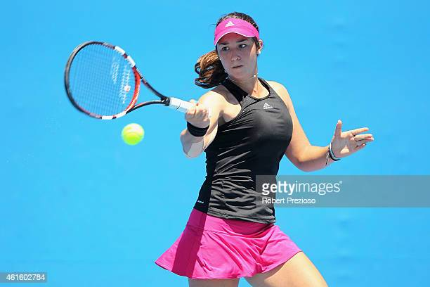 Louisa Chirico of USA plays a forehand in her qualifying match against Richel Hogenkamp of Netherlands for 2015 Australian Open at Melbourne Park on...