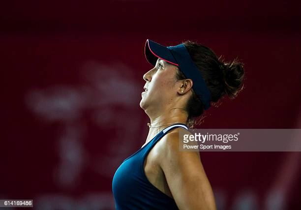 Louisa Chirico of USA reacts while playing against Angelique Kerber of Germany during their Singles Round 2 match at the WTA Prudential Hong Kong...