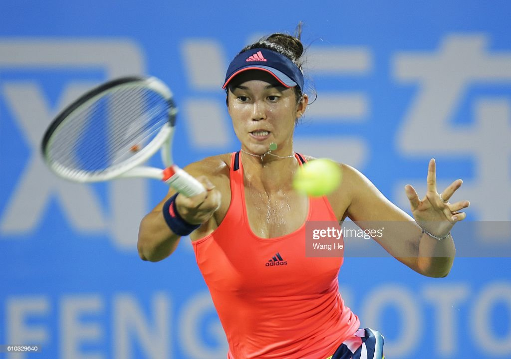Louisa Chirico of USA returns a shot during the match against Timea Bacsinszky of Switzerland on Day 1 of 2016 Dongfeng Motor Wuhan Open at Optics Valley International Tennis Center on September 25, 2016 in Wuhan, China.