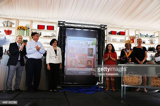 Louisa Chu Sam Toia Stephen Chen Pritha Mehra Stephanie Izard Ruth Louis Smith Yvon Ros Monica Eng unveil the US Postal Service Celebrity Chefs...