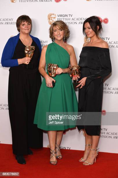 Louisa Compton Victoria Derbyshire and Jo Adnitt winners of the News Coverage award pose in the Winner's room at the Virgin TV BAFTA Television...