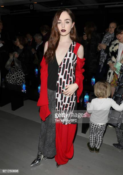 Louisa Connolly-Burnham attends the Teatum Jones show during London Fashion Week February 2018 at BFC Show Space on February 20, 2018 in London,...