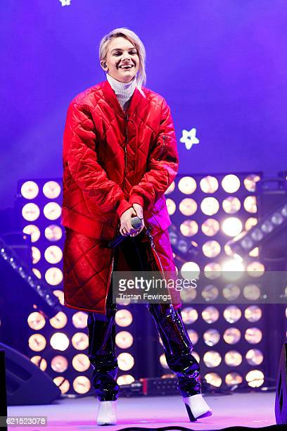 Louisa Johnson peforms live on stage ahead of Craig David switching on the Oxford Street Christmas Lights at Oxford Street on November 6 2016 in...