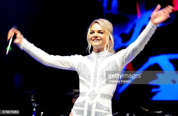 Louisa Johnson performs with Clean Bandit at Key 103 Live at Manchester Arena on July 16 2016 in Manchester England