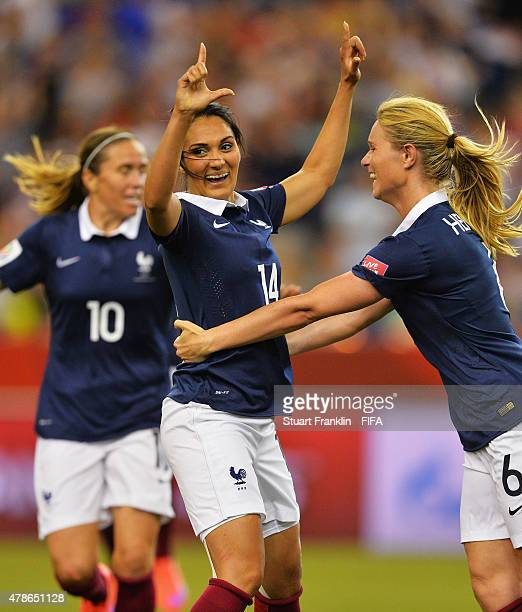 Louisa Necib of France celebrates scoring her goal during the quarter final match of the FIFA Women's World Cup between Germany and France at Olympic...