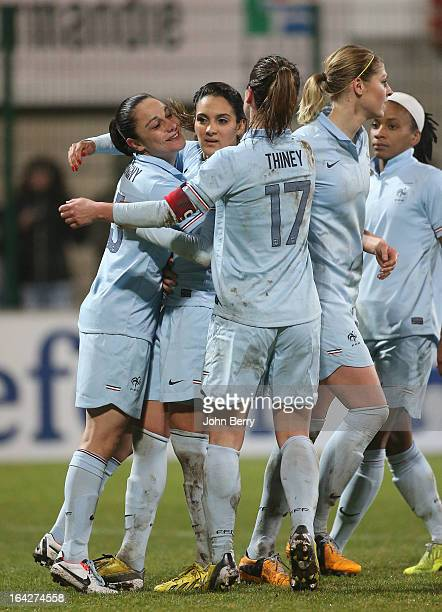 Louisa Necib of France congratulated by Sandrine Bretigny and Gaetane Thiney after her goal during the women international friendly match between...