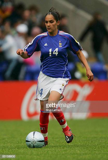 Louisa Necib of France in action during the Women's UEFA European Championship 2005 Group B match between Germany and France at The Halliwell Jones...