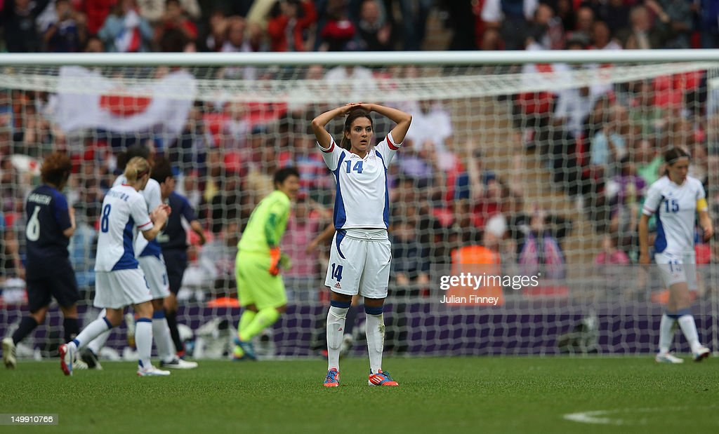 Louisa Necib of France looks dejected after Elise Bussaglia of France missed a penalty during the Women's Football Semi Final match between France and Japan on Day 10 of the London 2012 Olympic Games at Wembley Stadium on August 6, 2012 in London, England.