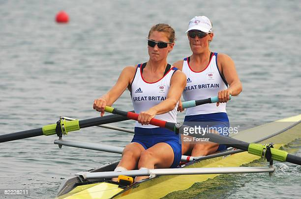 Louisa Reeve and Olivia Whitlam of Great Britain compete in the Women's Pair Heat 2 at Shunyi Olympic Rowing-Canoeing Park during Day 1 of the...