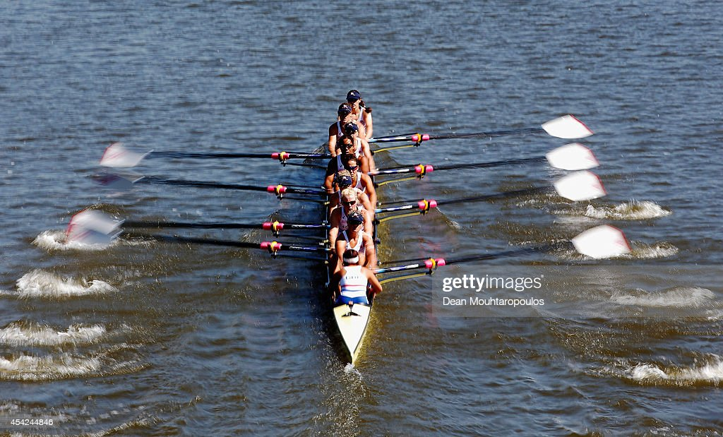 Louisa Reeve, Katie Greves, Donna Etiebet, Jessica Eddie, Zoe Lee, Rosamund Bradbury, Polly Swann, Zoe De Toledo and Caragh McMurtry of Great Britain compete in the Women's Eight - Heat during the 2014 World Rowing Championships at the Bosbaan on August 27, 2014 in Amsterdam, Netherlands.