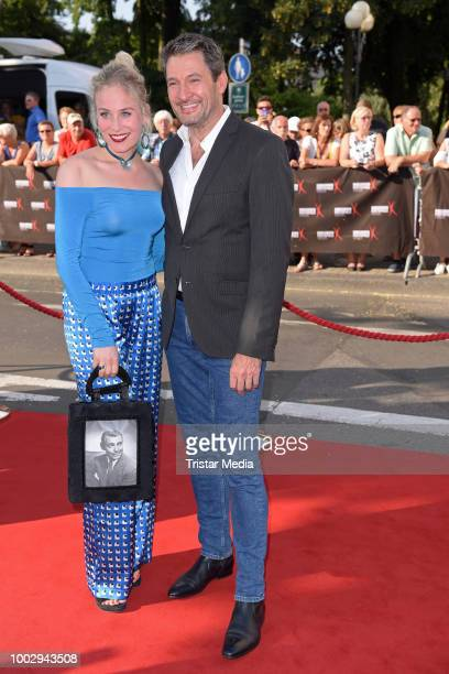 Louisa von Spies and Dieter Bach attend the Nibelungen Festival Opening Night and premiere of 'Siegfrieds Erben' at Domplatz on July 20 2018 in Worms...