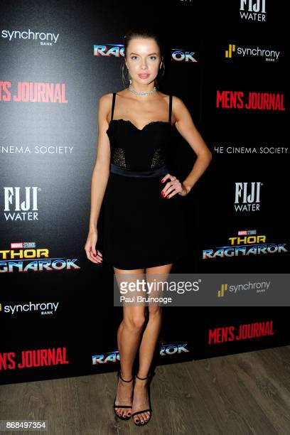 Louisa Warwick attends The Cinema Society with FIJI Water Men's Journal and Synchrony host a screening of Marvel Studios' 'Thor Ragnarok' at the...