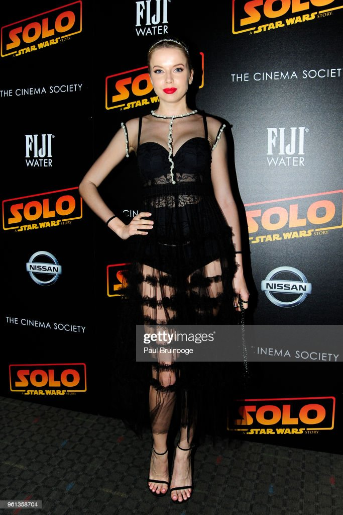 Louisa Warwick attends The Cinema Society With Nissan & FIJI Water Host A Screening Of 'Solo: A Star Wars Story' at SVA Theatre on May 21, 2018 in New York City.