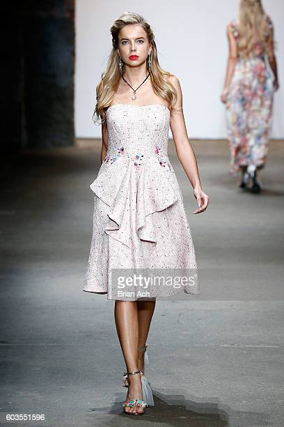 Louisa Warwick walks the runway at Nikistavia's show at Nolcha Shows New York Fashion Week Women's S/S 2017 at ArtBeam on September 12 2016 in New...